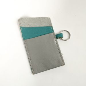 Silver and turquoise leather card holder