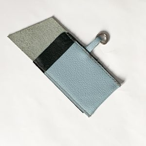 Baby blue pebble leather card holder