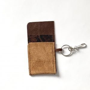Brown leather and suede card holder