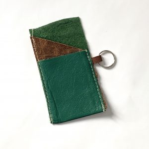 leather card holder green and brown