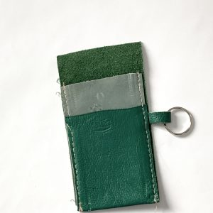 Green and grey leather card holder