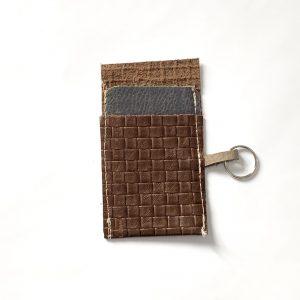 Basket weave look leather card holder