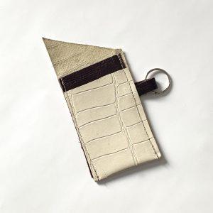 Cream croc look leather card holder