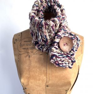 Tan, pink, blue burgundy scarf with brown button