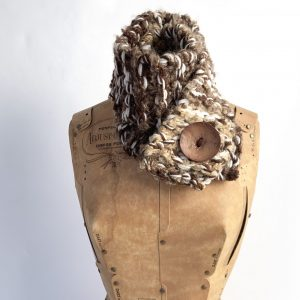 Brown, tan, cream scarf with brown button