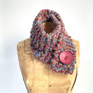 scarf red, blue and tan with red button
