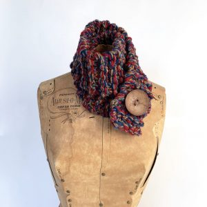 scarf, blue red and tan with brown button