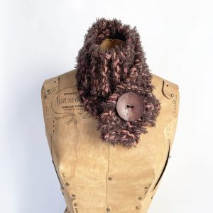 Fuzzy brown and pink scarf with brown button