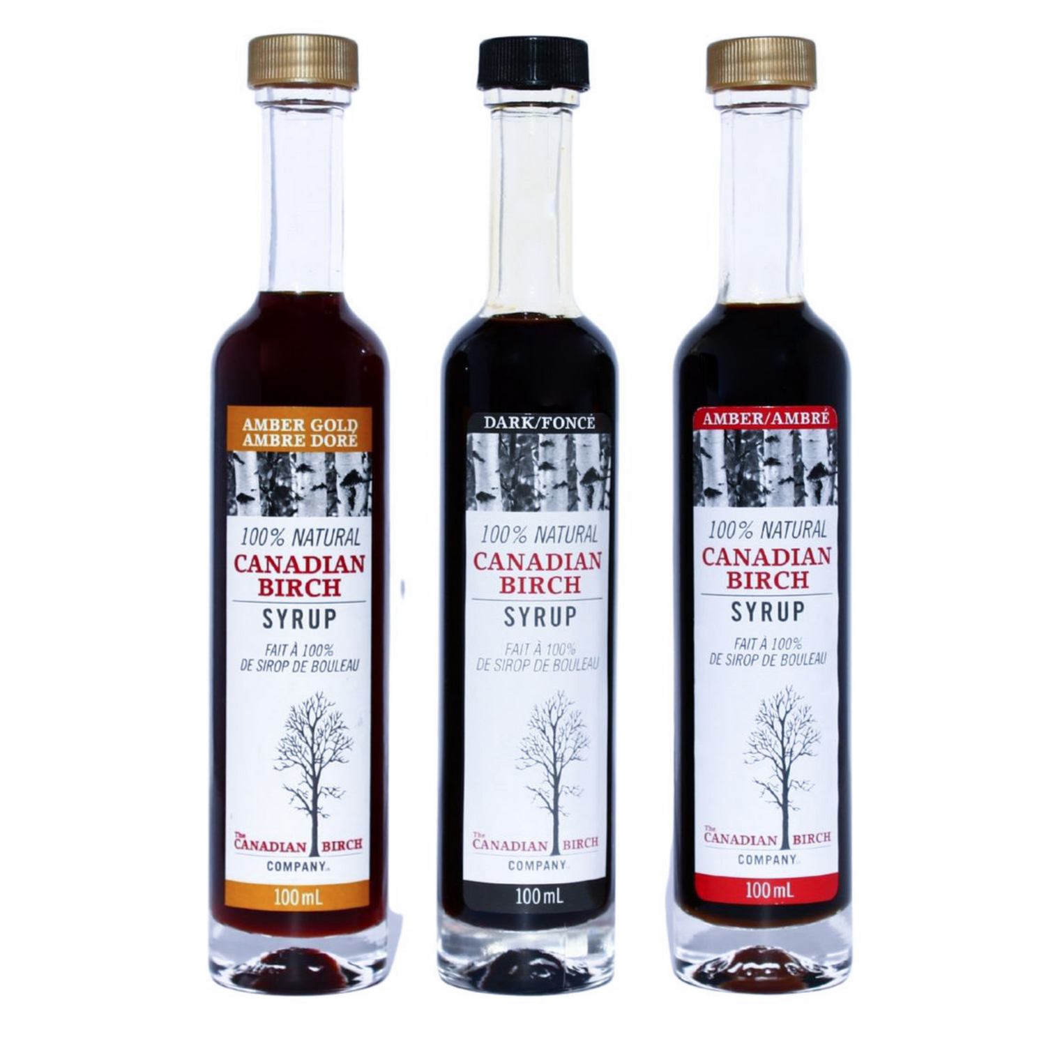 Dark, Amber and Gold pure birch syrups sold together. Come in nice round gourmet long neck bottles, 100 ml each.