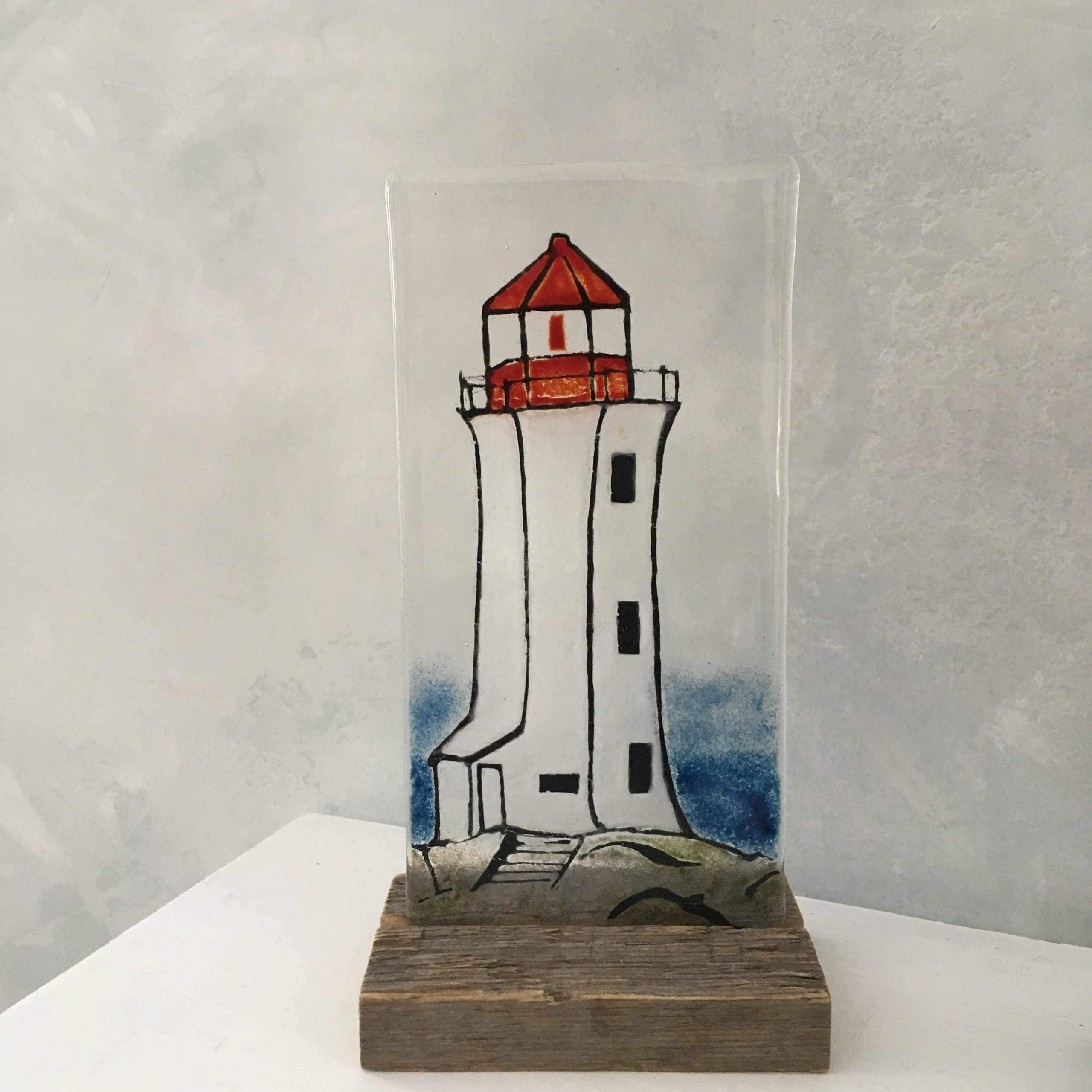 Peggy's Cove Lighthouse Glass Panel
