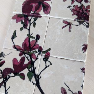 'Sweet Magnolia' – Set of 6 – Marble Art Coasters
