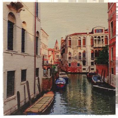 "Wood Art Panel 16""x16"" Venice Canal"