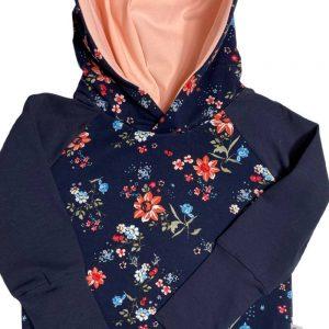 blue floral hoodie