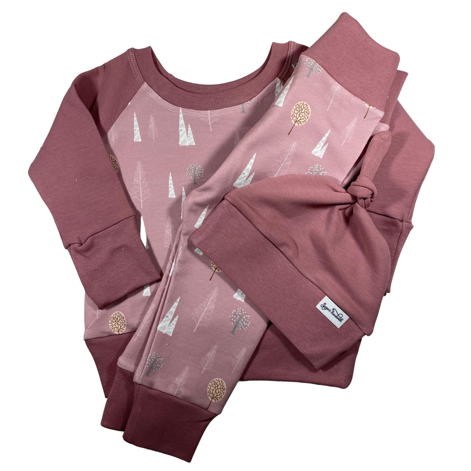 pink mountains print 3-piece jogger set