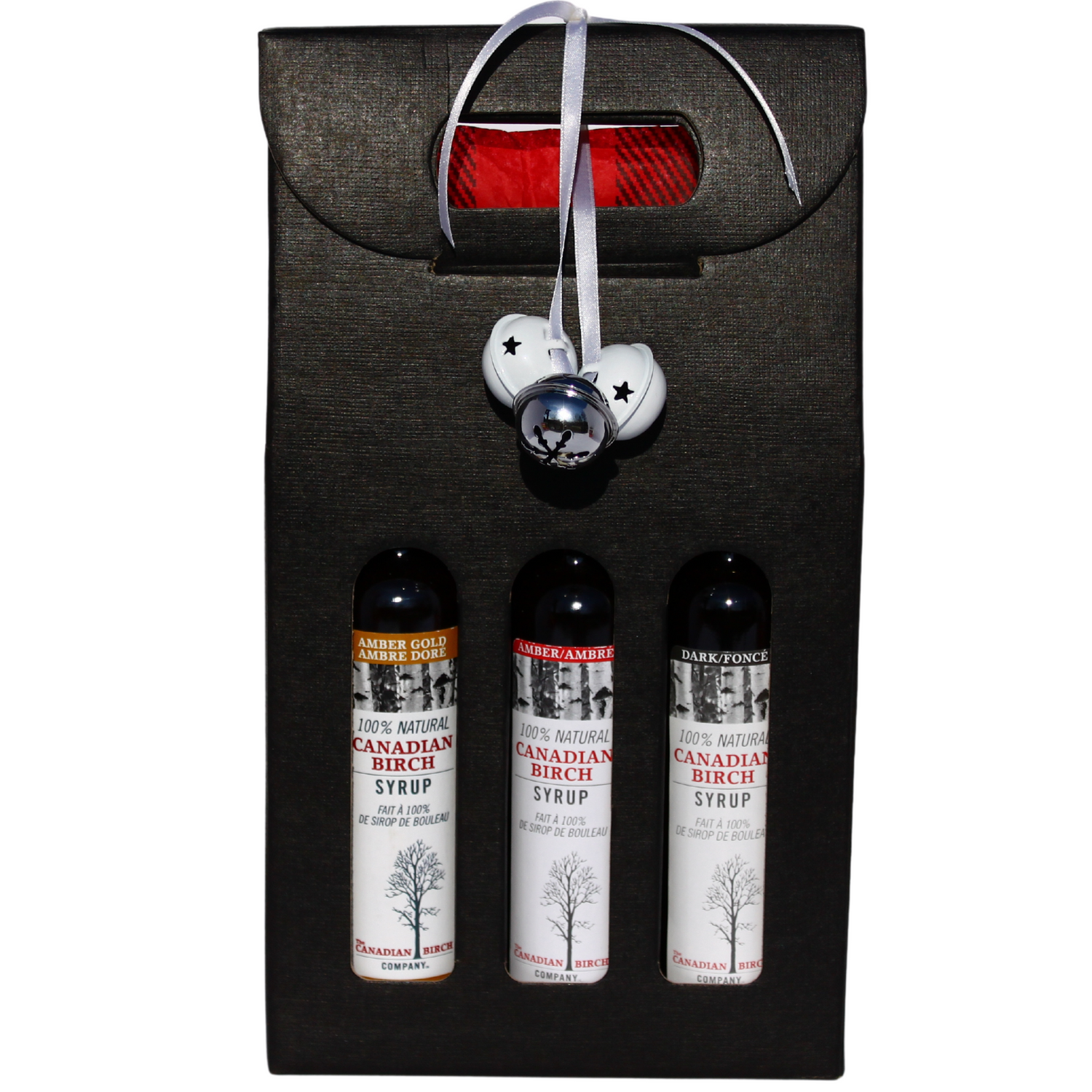 Premium paper tall window box in black housing 3 birch syrups, one each of dark, amber and gold 100 ml full size bottles