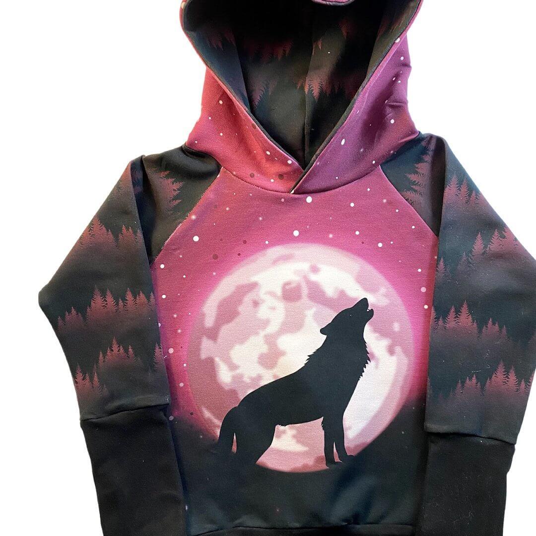 pink moon wolf hoodie