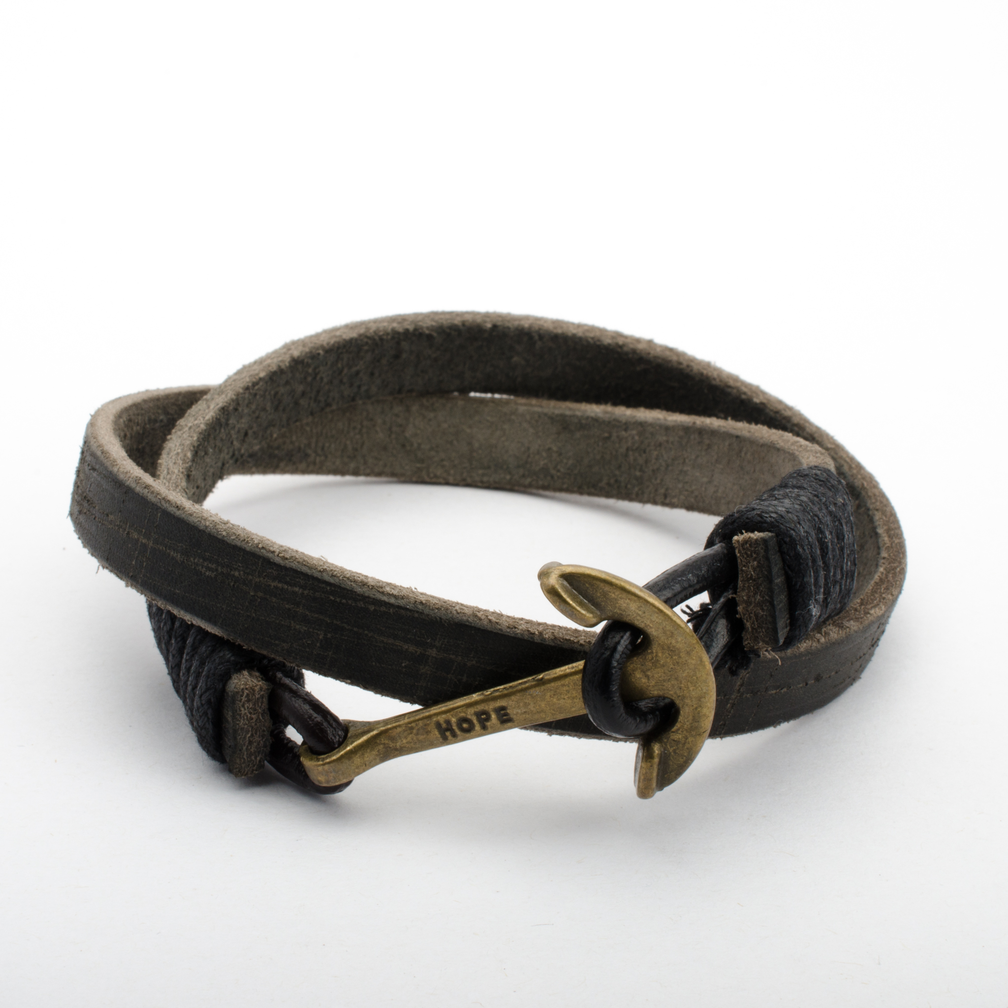Bracelet Leather Hope Anchor Brass Hook