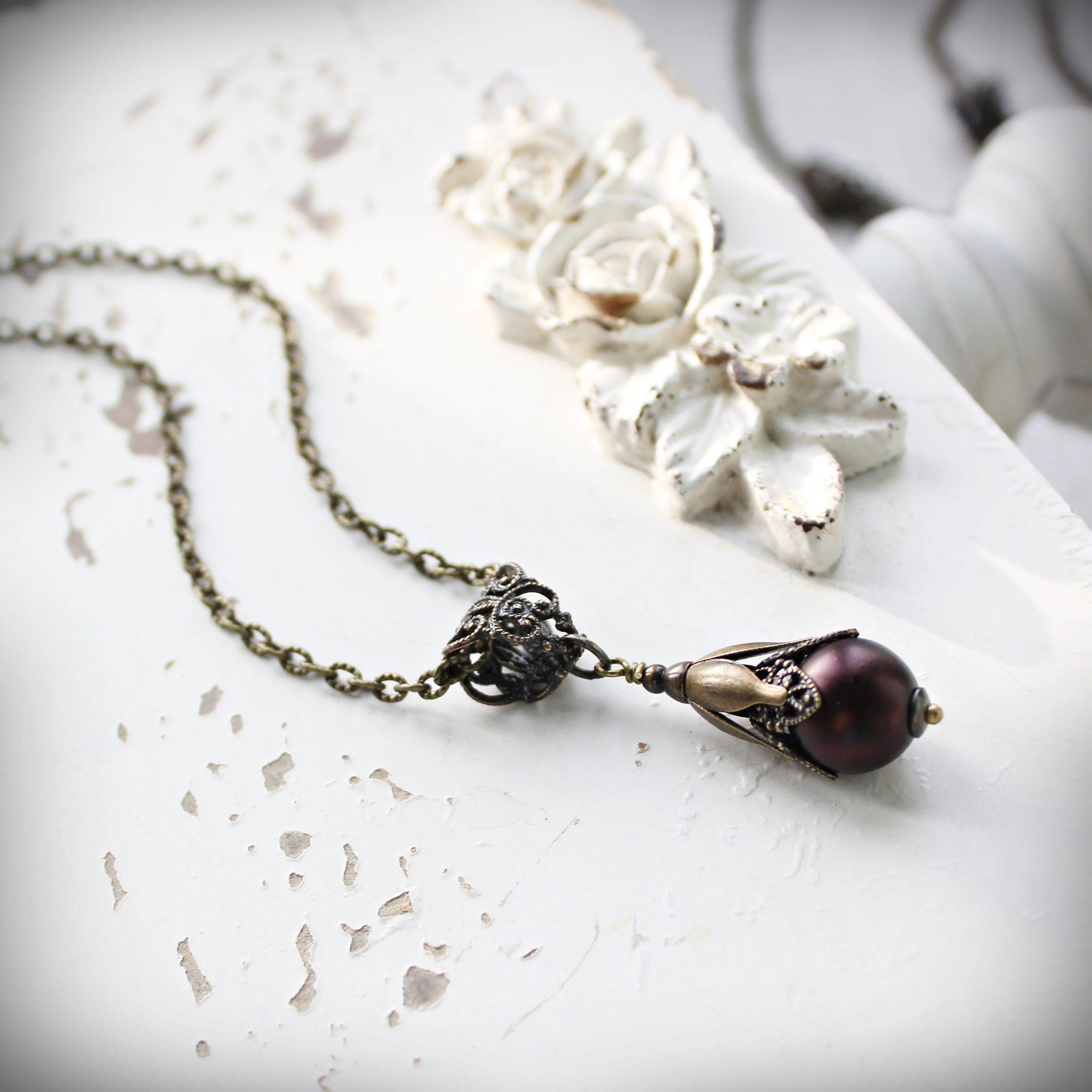 Burgundy Pearl Filigree Pendant Necklace
