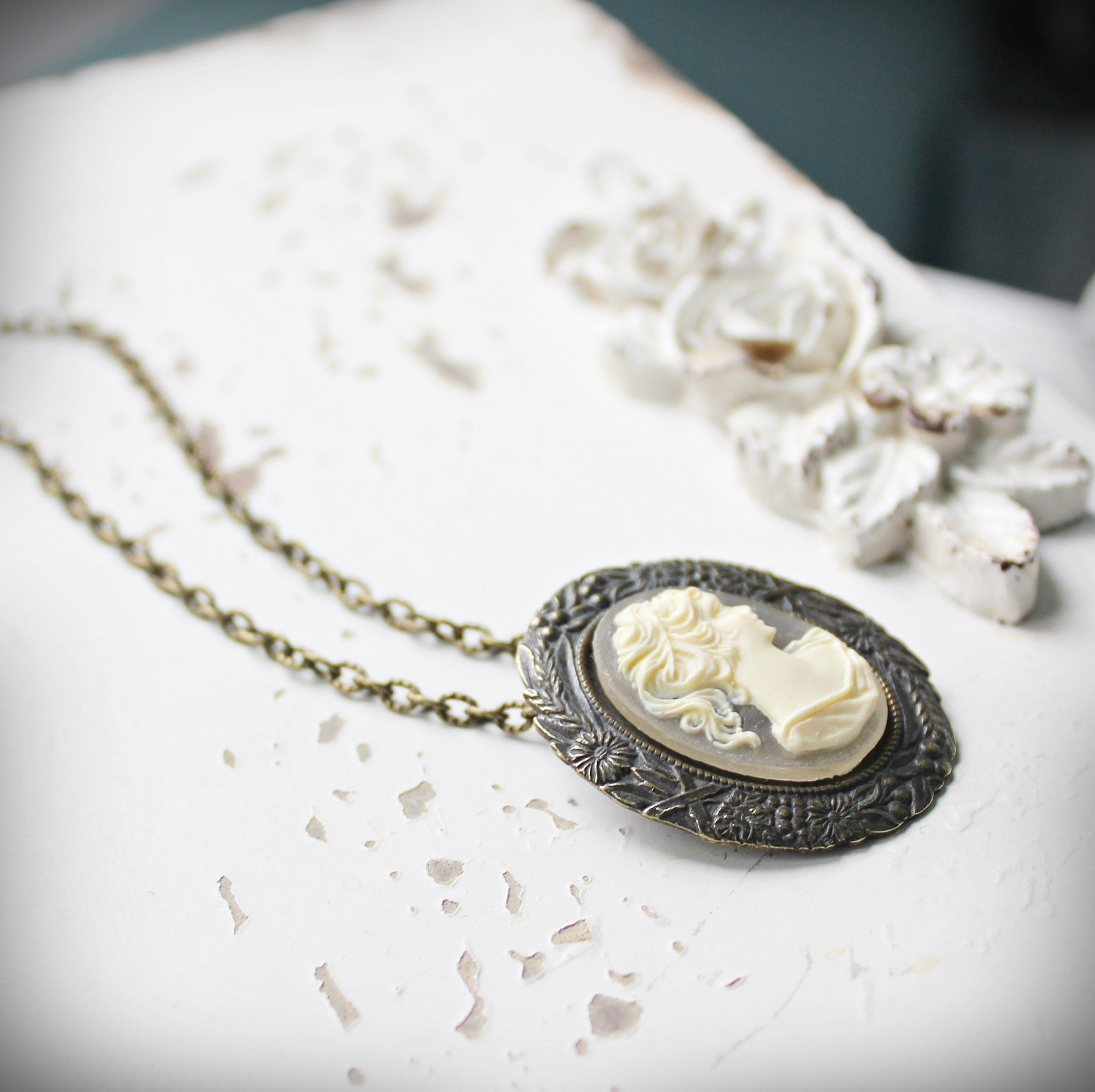 Cream Cameo Brooch and Pendant in Vintage Style