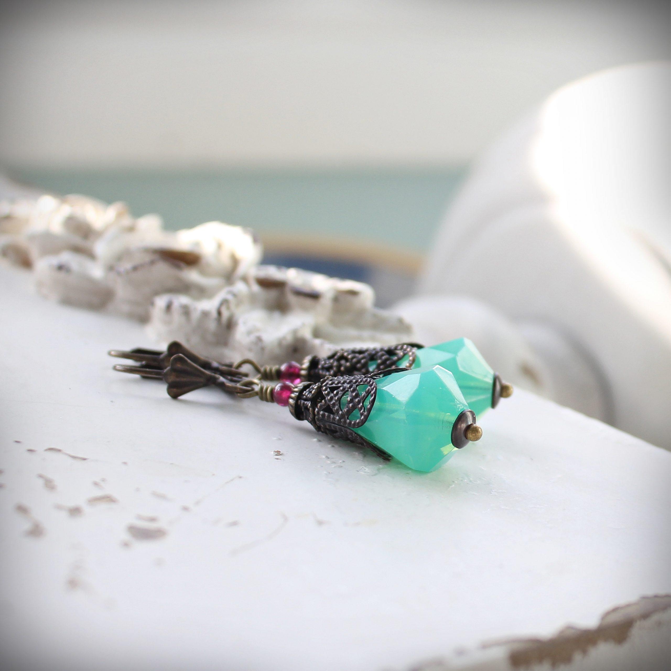 Green Opal Glass Drop Vintage Style Earrings