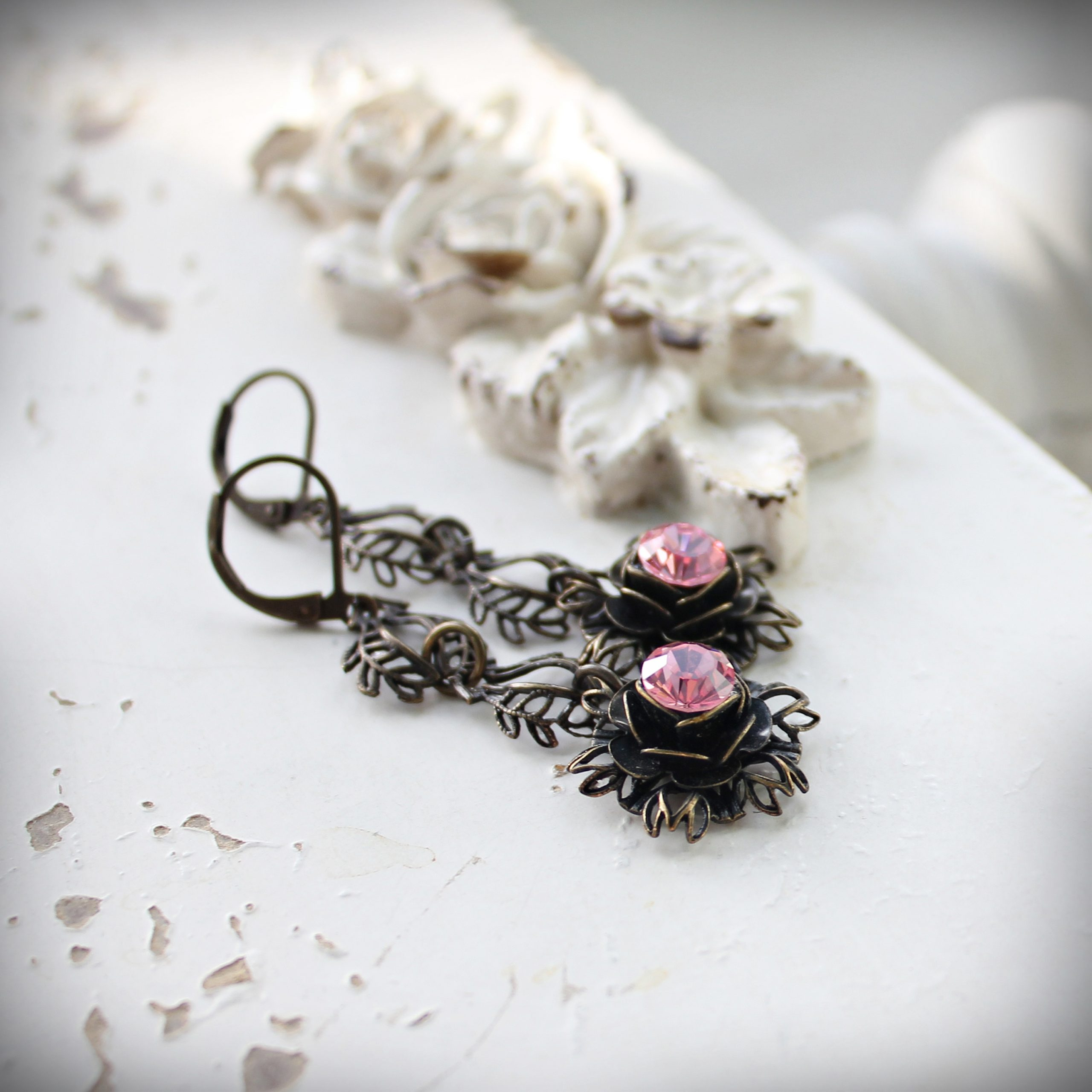Light Rose Swarovski Crystal Earrings in Vintage Style