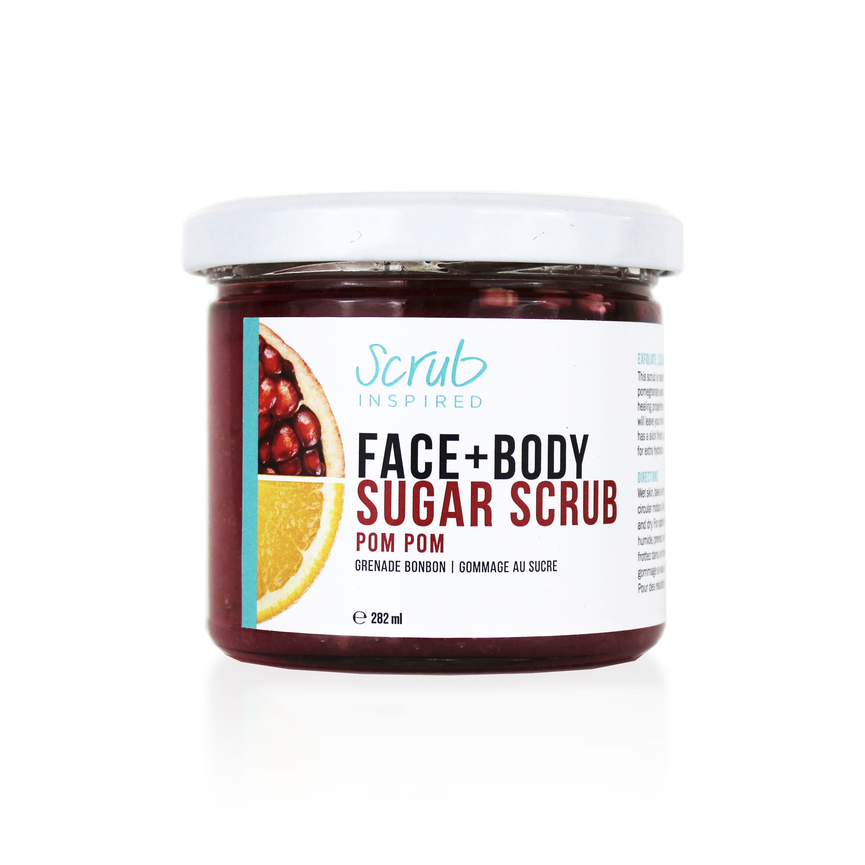 Pom Pom, sugar face and body scrub by Scrub Inspired. Handmade in Canada, it's vegan, eco-friendly, and cruetly-free.