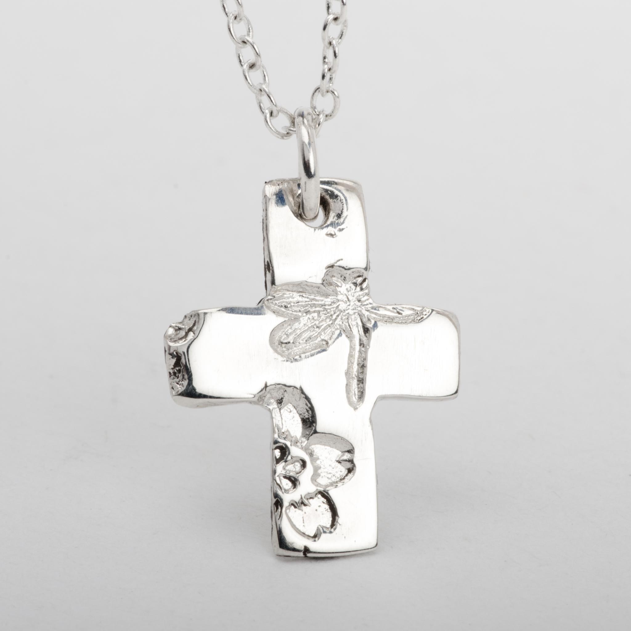 Cross Pendant Necklace Dragonfly Flower Sterling Silver Women Jewelry