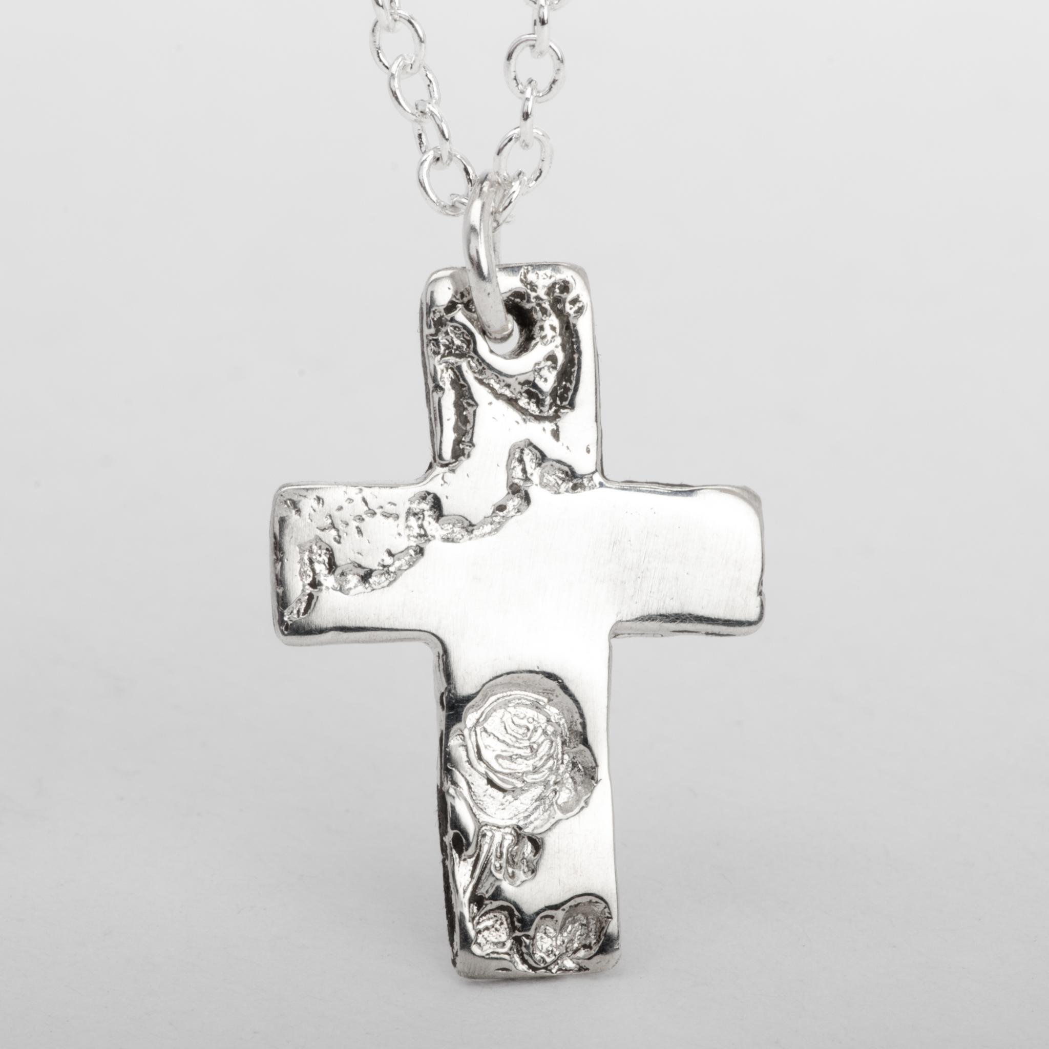 Cross Pendant Necklace Rose Flower Sterling Silver Women Jewelry