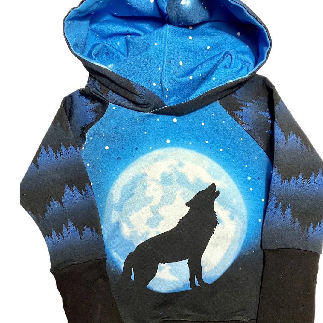 blue moon wolf hoodie