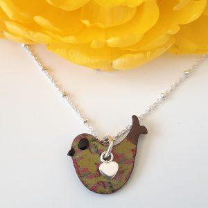 Happy Bird Necklace Moss and Purple Tartan