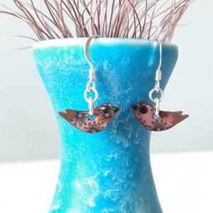 Daisy Purple Bird Earrings, Handmade Wood and Sterling Silver, MarMoo by Amanda Cope