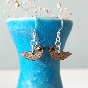 Mini Bird Handmade Earrings Dark Purple, Wood and Sterling Silver, MarMoo by Amanda Cope