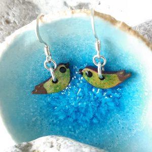 Bird Mini Earrings Green Daisy, Handmade Wood and Sterling Silver, MarMoo by Amanda Cope