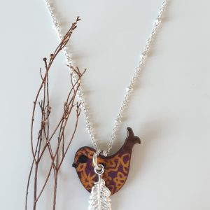 Happy Bird Necklace Wood and Sterling Silver by Amanda Cope