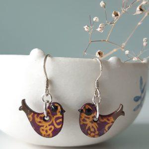 Mini Happy Bird Purple and Mustard Handmade by Amanda Cope, Wood and Sterling Silver, MarMoo