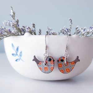 Happy bird wood and sterling silver earrings, handmade by Amanda Cope, MarMoo