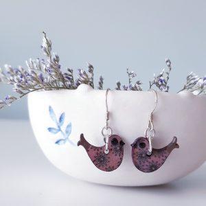 Happy Bird Wood Earrings Handmade by Amanda Cope