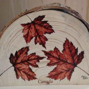 3 maple leaves - Canada- live edge wood slice