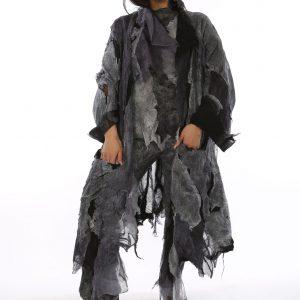 Black and grey silk kimono