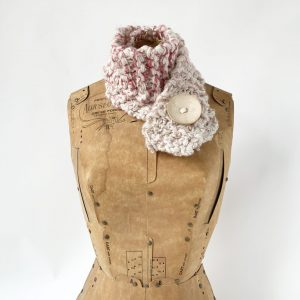cream and pink mix button scarf with cream button