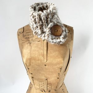 Crean, tan button scarf with sparkles and brown button