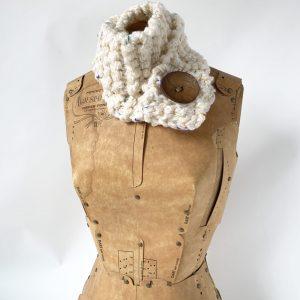 Cream button scarf bright speckles brown button