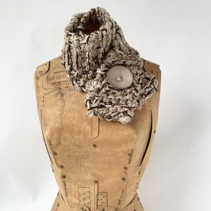 Tan button scarf tan button brown and pink accent