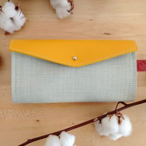 Yellow and mint colour long wallet