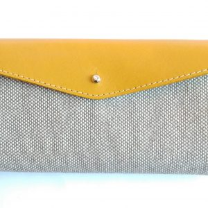 mustard leather and tweed canvas long wallet