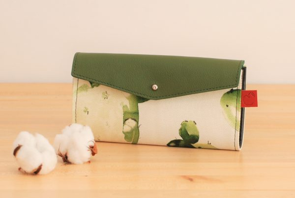 green leather and cactus printed canvas long wallet