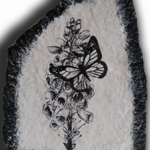 Butterfly and Foxglove flowersExpressions in stone