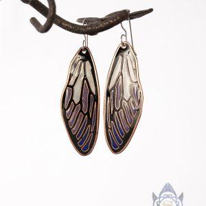fairy wing copper earrings