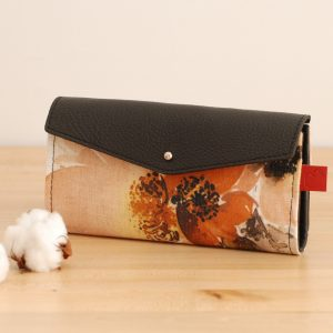 black and floral wallet for women