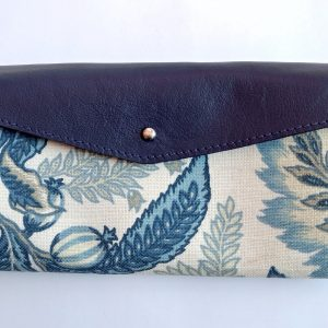 navy long wallet in leather and canvas